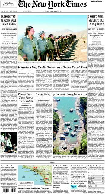 NYT front page October 23, 2007