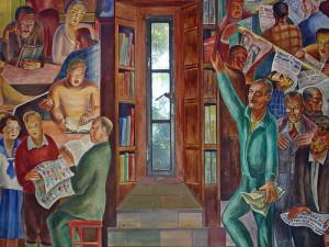 Baruch Zacheim's library mural, Coit Tower