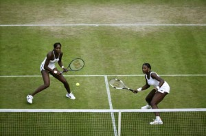 Venus and Serena playing doubles